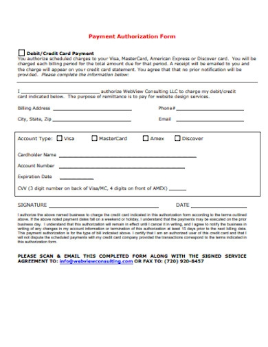 sample credit card recurring payment authorization form