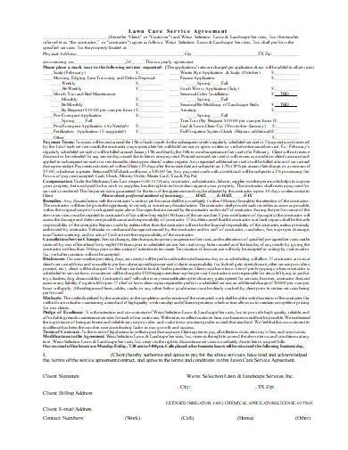 sample lawn care service agreement
