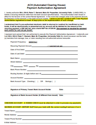 sample recurring payment authorization agreement