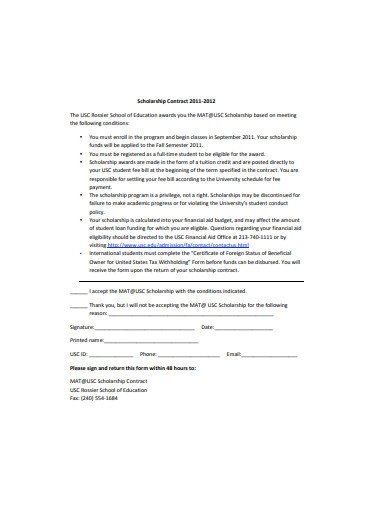 sample scholarship contract