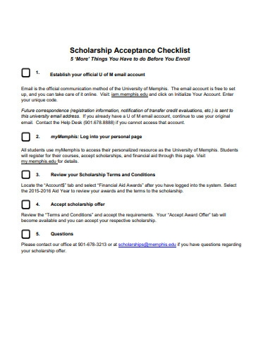 scholarship acceptance checklist