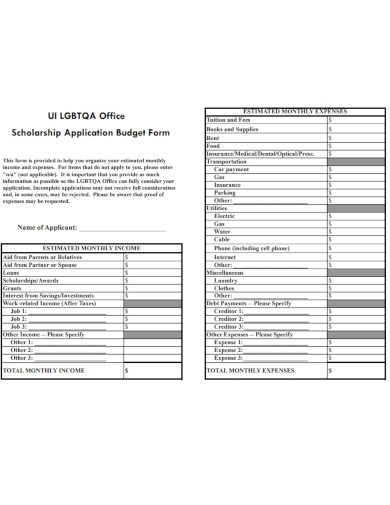 scholarship application budget form