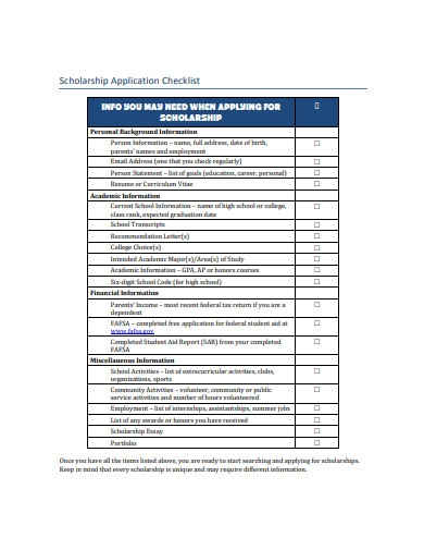 scholarship application checklist example