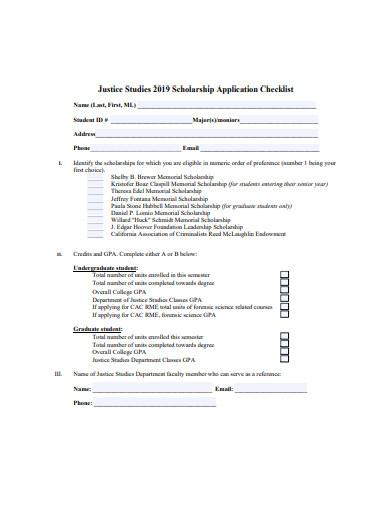 scholarship application checklist sample