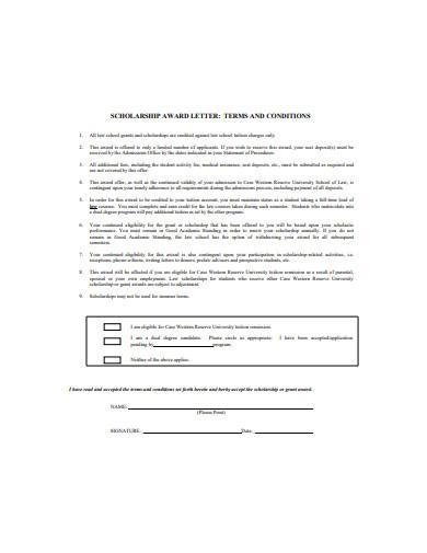 scholarship award letter format