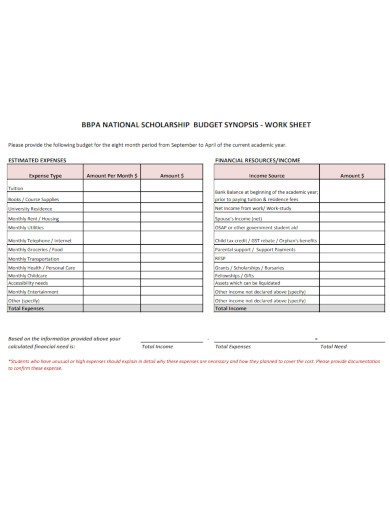 scholarship budget synopsis template