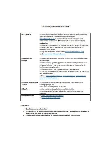 scholarship checklist format