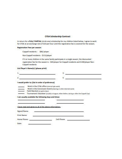 scholarship contract format