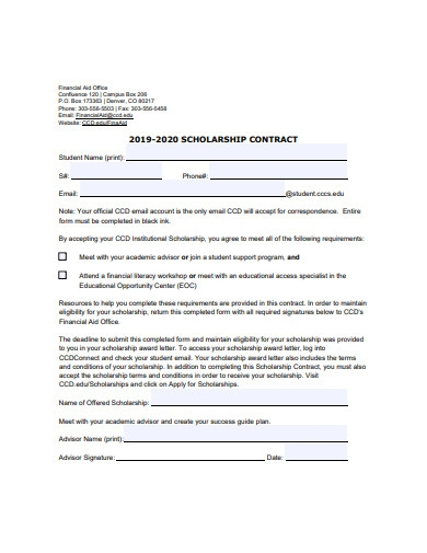 scholarship contract sample