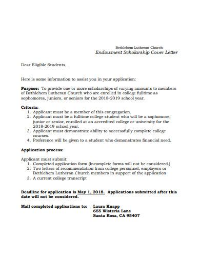 scholarship cover letter format