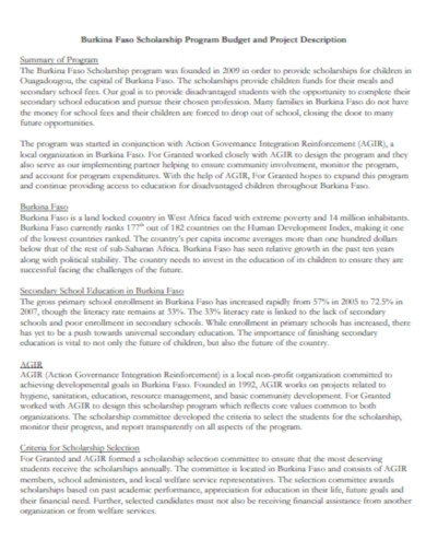 scholarship program budget and project description example
