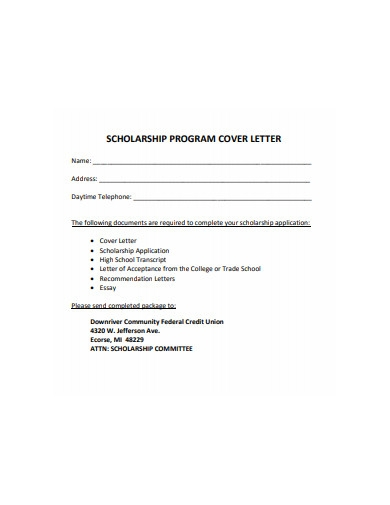 scholarship program cover letter