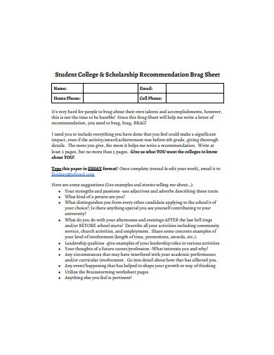 scholarship recommendation brag sheet