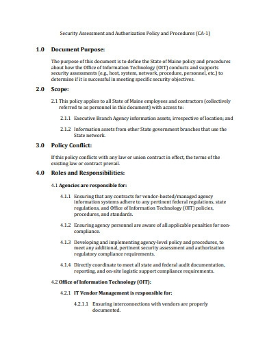 security assessment and authorization policy format