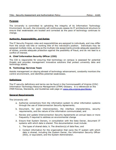security assessment and authorization policy