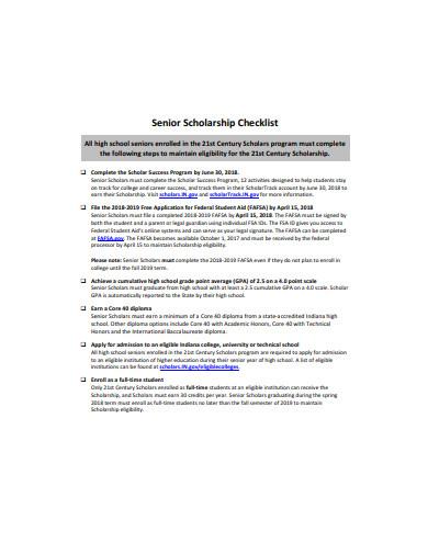 senior scholarship checklist