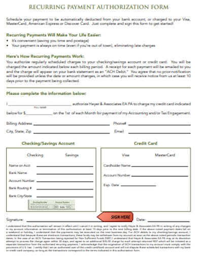 simple recurring payment authorization form