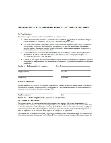 standard medical authorization form