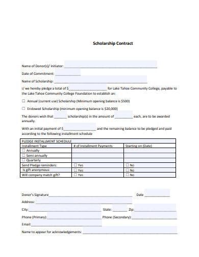 standard scholarship contract