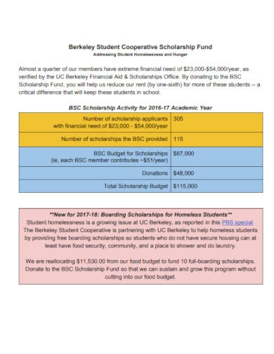 student cooperative scholarship fund budget example