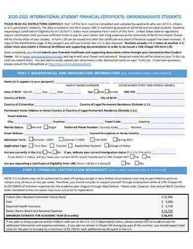 student financial certificate