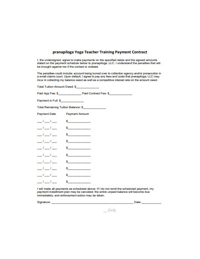 teacher training payment contract
