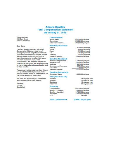total compensation statement format