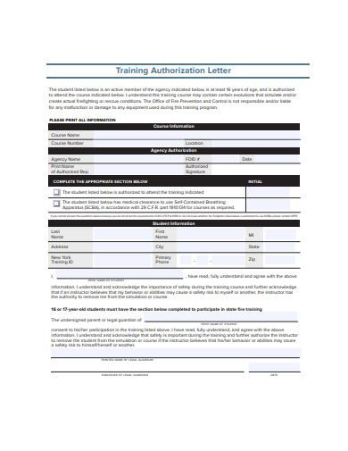 training authorization letter
