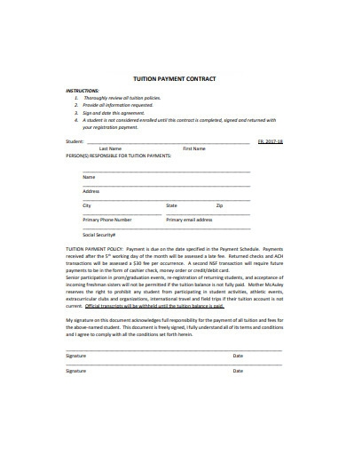 tuition payment contract