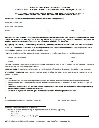 universal patient authorization form