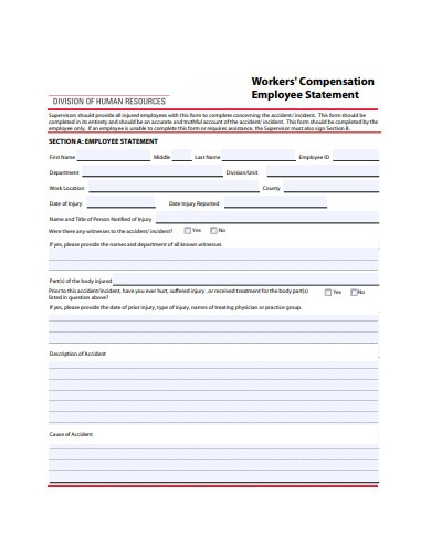 workers compensation employee statement