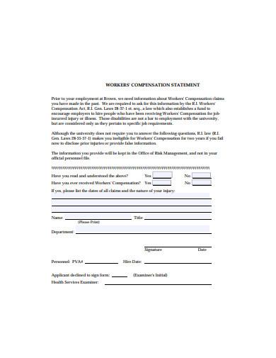 workers compensation statement