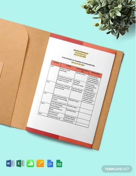 5 day construction project schedule template