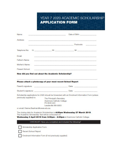 academic scholarship application form sample