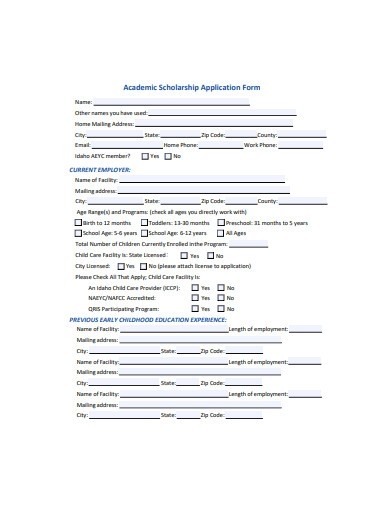 academic scholarship application form