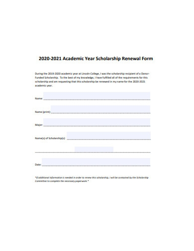 academic year scholarship renewal form