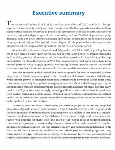 agricultural executive summary