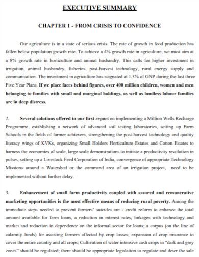 agriculture executive summary