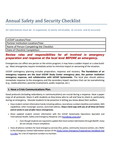 annual safety and security checklist
