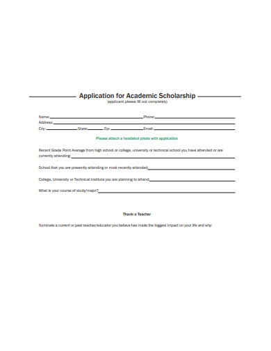 application for academic scholarship