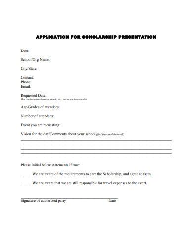 application for scholarship presentation