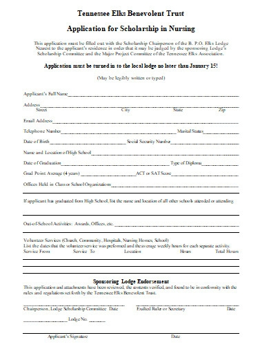 application for scholarship in nursing
