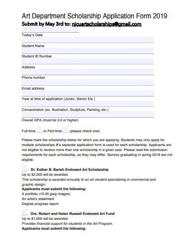 art department scholarship application form