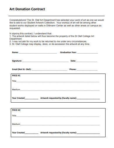 art donation contract