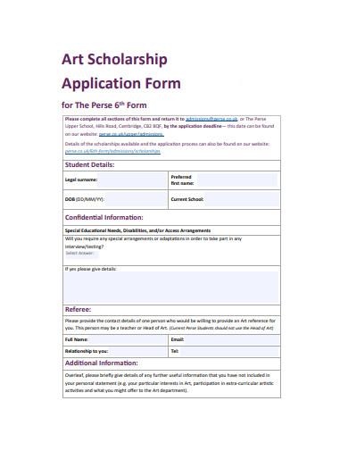 art scholarship application form example