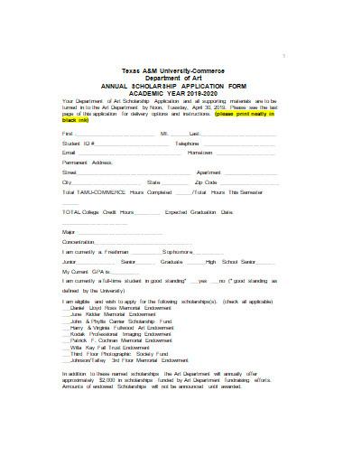 art scholarship application form in doc