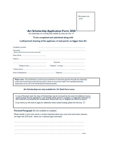 art scholarship application form