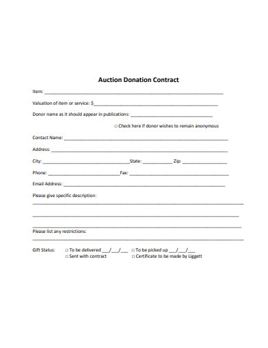auction donation contract example