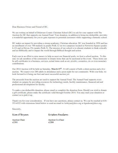 auction donation solicitation letter
