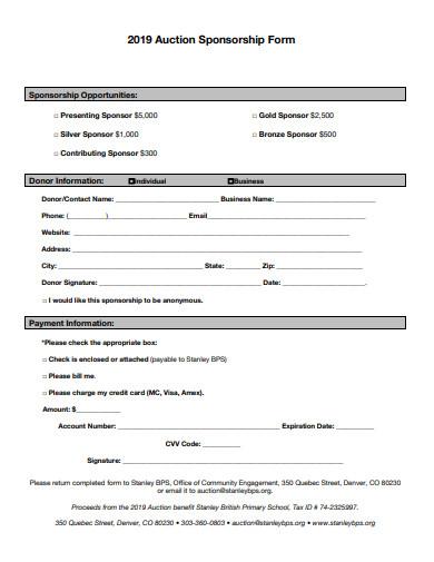 auction sponsorship donation form